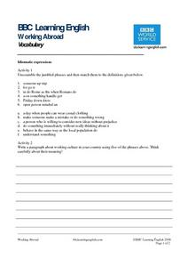 BBC Learning English, Vocabulary Worksheet