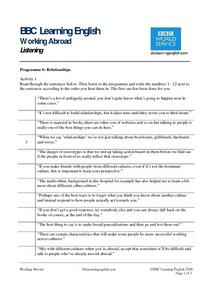 BBC Learning English: Working Abroad - Listening (Relationships) Worksheet