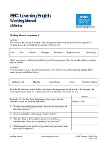 BBC Learning English -working abroad: listening Worksheet