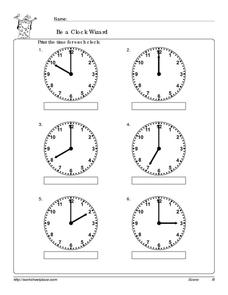 Be a Clock Wizard: Hours Worksheet