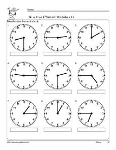 Be a Clock Wizard: Worksheet 7 Worksheet