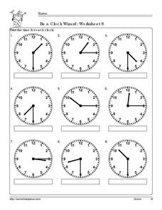 Be a Clock Wizard: Worksheet 8 Worksheet