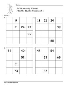 Be a Counting Wizard! Counting by 3 Worksheet