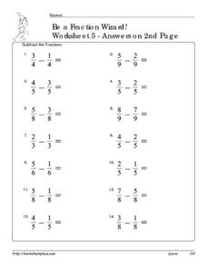 Be a Fraction Wizard! 5 Worksheet