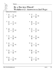 Be a Fraction Wizard: Worksheet #2 Worksheet