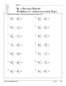 Be a Fraction Wizard: Worksheet #4 Worksheet
