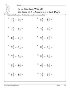 Be a Fraction Wizard - Worksheet 5 Worksheet