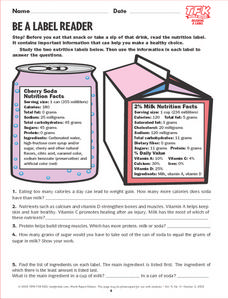 Be a Label Reader Lesson Plan
