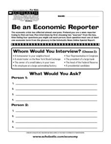 Be an Economic Reporter Worksheet