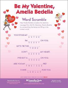Be My Valentine, Amelia Bedelia Word Scramble Lesson Plan