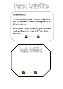 Beach Activities Worksheet