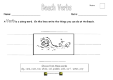 Beach Verbs Worksheet