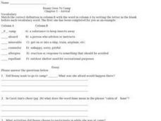 Beany Goes to Camp  Chapter 1 Arrival Worksheet