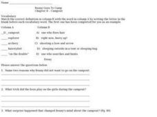 Beany Goes to Camp Chapter 4 Campout Worksheet