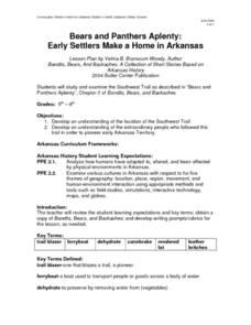 Bears and Panthers Aplenty: Early Settlers Make a Home in Arkansas Lesson Plan