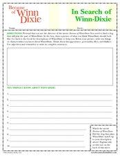 Because of Winn-Dixie 2nd - 3rd Grade Worksheet | Lesson Planet