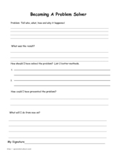 Becoming a Problem Solving Worksheet