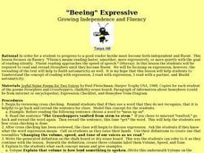 """Beeing"" Expressive: Growing Independence and Fluency Lesson Plan"
