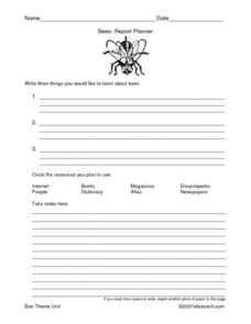 Bees: Report Planner Lesson Plan