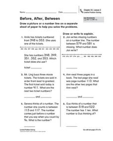Before, After, Between Worksheet