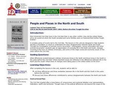 Before Brother Fought Brother: People and Places in the North and South Lesson Plan