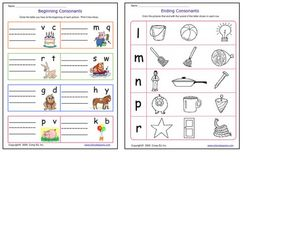 Beginning and Ending Consonants Worksheet