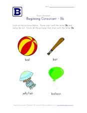 Beginning Consonant: Bb Worksheet