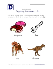 Beginning Consonant: Dd Worksheet