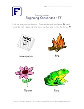 Beginning Consonant: Ff Worksheet