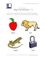 Beginning Consonant: Ll Worksheet