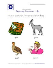 Beginning Consonant: Qq Worksheet