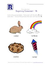 Beginning Consonant: Rr Worksheet