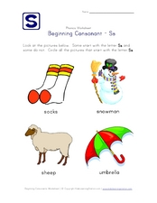 Beginning Consonant: Ss Worksheet