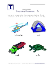 Beginning Consonant: Tt Worksheet