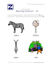 Beginning Consonant: Zz Worksheet