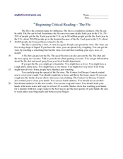 Beginning Critical Reading - The Flu Worksheet