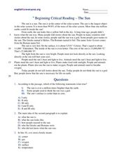 Beginning Critical Reading - The Sun 5th - 6th Grade Worksheet ...