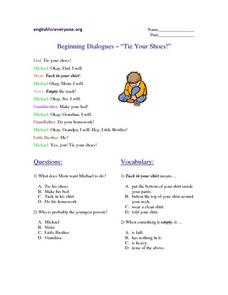 "Beginning Dialogues - ""Tie Your Shoes!"" Worksheet"