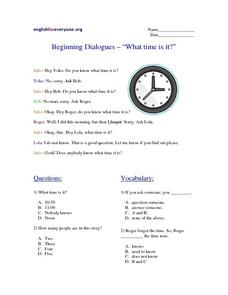 "Beginning Dialogues--""What Time Is It?"" Worksheet"