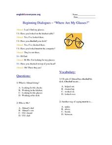 "Beginning Dialogues- ""Where Are My Glasses?"" Worksheet"