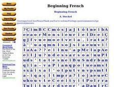 Beginning French Worksheet