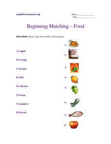 Beginning Matching-- Food Worksheet