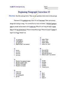 Beginning Paragraph Correction #10 Worksheet