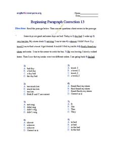 Beginning Paragraph Correction #13 Worksheet