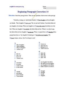 Beginning Paragraph Correction #14 Worksheet