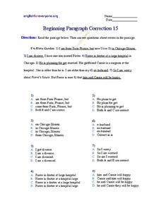 Beginning Paragraph Correction #15 Worksheet