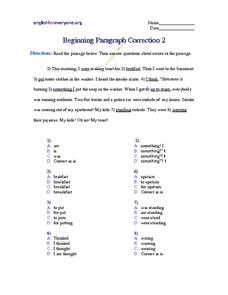 Beginning Paragraph Correction #2 Worksheet