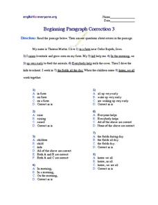 Beginning Paragraph Correction #3 Worksheet