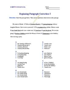 Beginning Paragraph Correction #5 Worksheet
