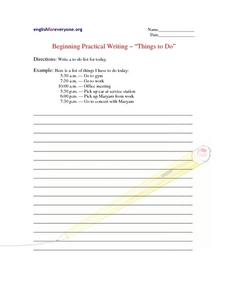 "Beginning Practical Writing - ""Things to Do"" Worksheet"